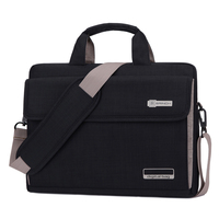 Black laptop bag with strap for business