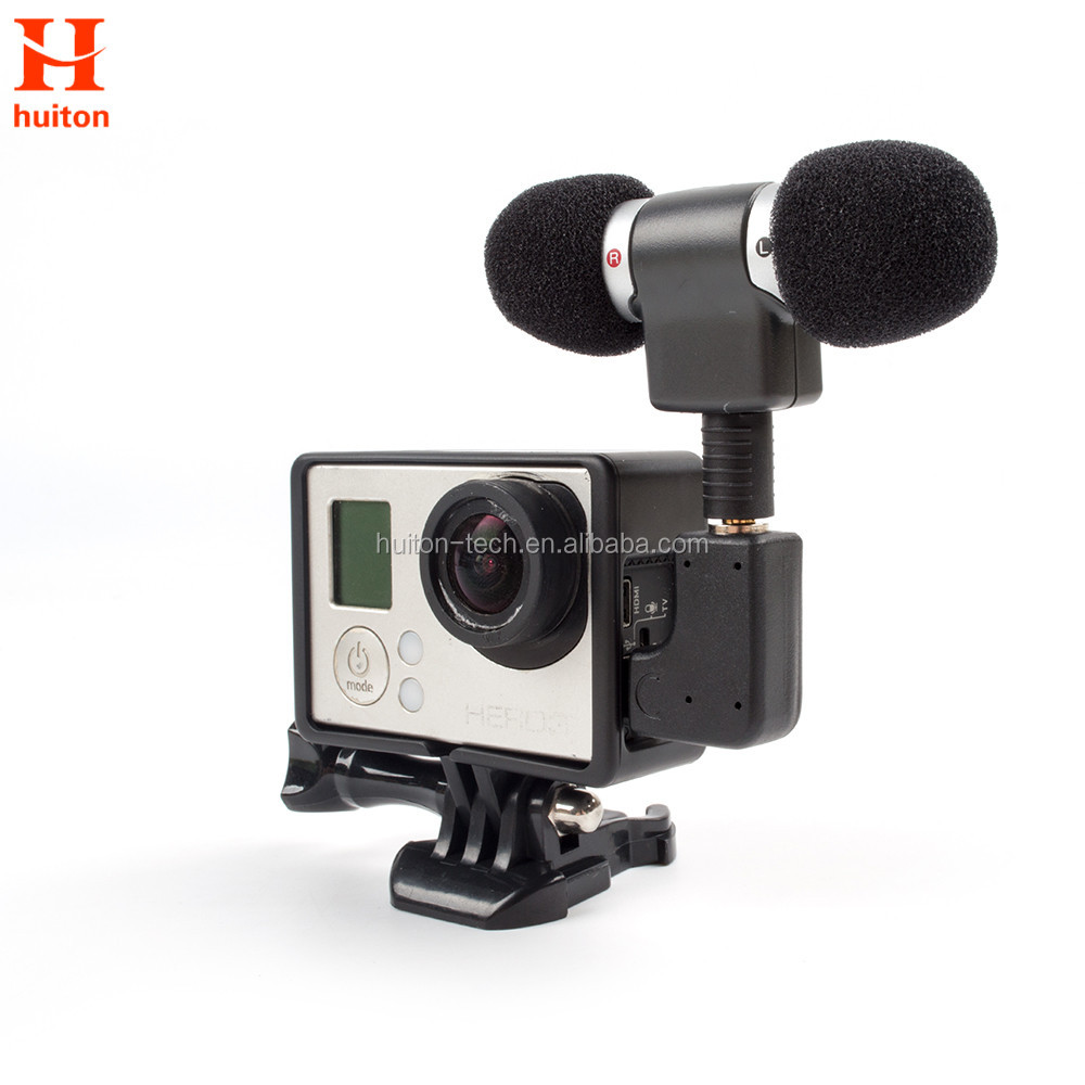 External Mini Stereo Microphone For Gopro Hero 4 3 Accessories Protective Frame Case Mount For Go Pro Action Camera 3.5Mm GP391