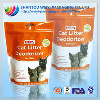 Disposable pe stand up zipper bag for cat food