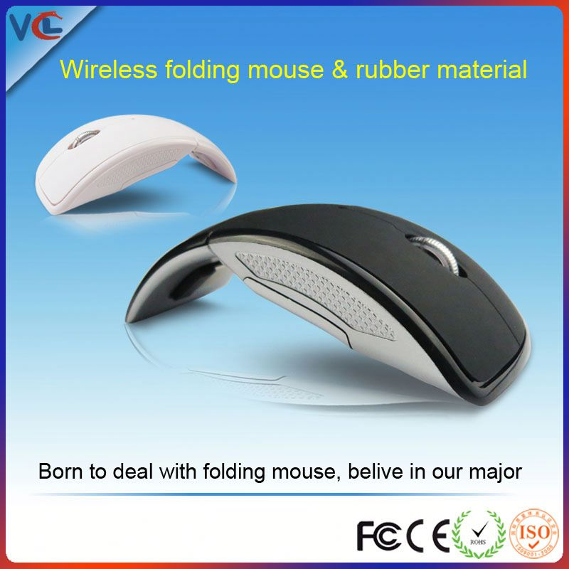 Free Sample! 2.4g wireless folding optical mouse, color box package for promotion