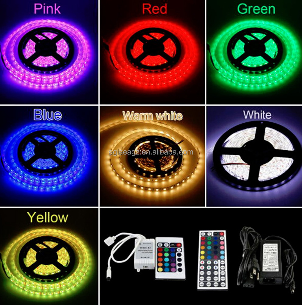 High Brightness 12V led string lights RGB 5050 SMD LED Strip waterproof 5m remote control room decoration led light