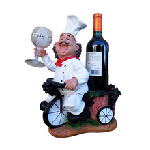 Chef On Bicycle Resin Wine Stand Wine Bottle Holder