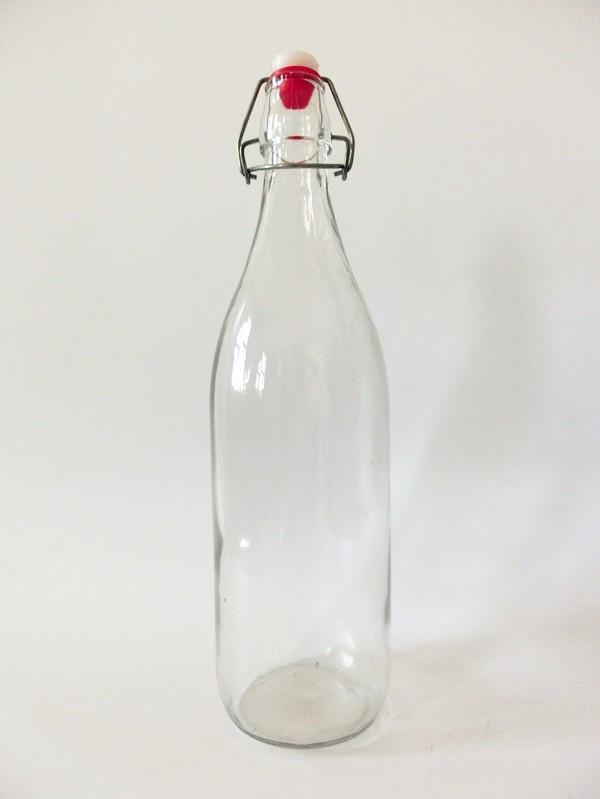 250ml 500ml 1000ml clear glass material empty bottle with airtight metal flip top /swing top