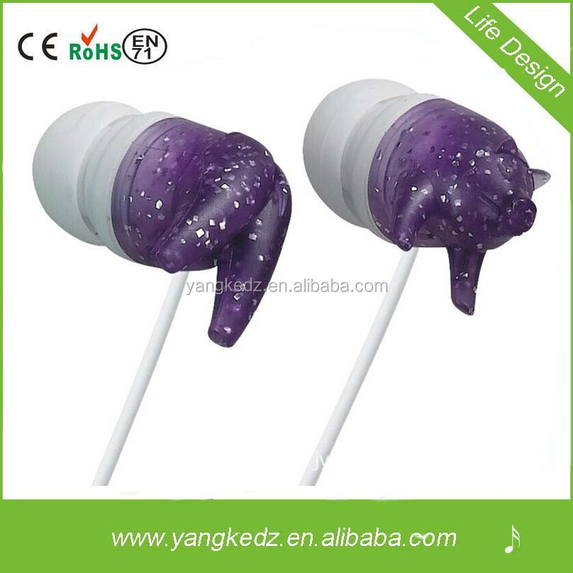 Colorful earphone factory promotion colorful lovely pig earphone