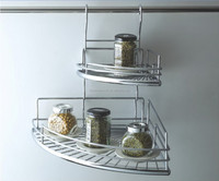 Wall mounted stainless steel corner spice rack