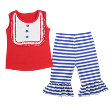 Latest design in kids wear wholesale fashion clothing bib shirt 3/4 leggings boutique 4th of July baby outfits Girls summer sets