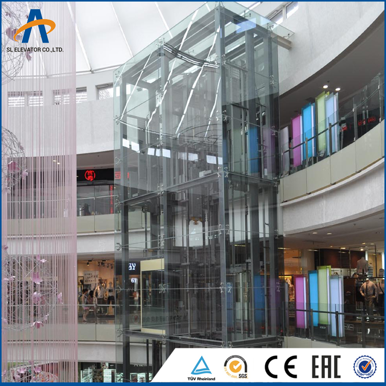 Fast delivery durable use square machine room less panoramic elevator