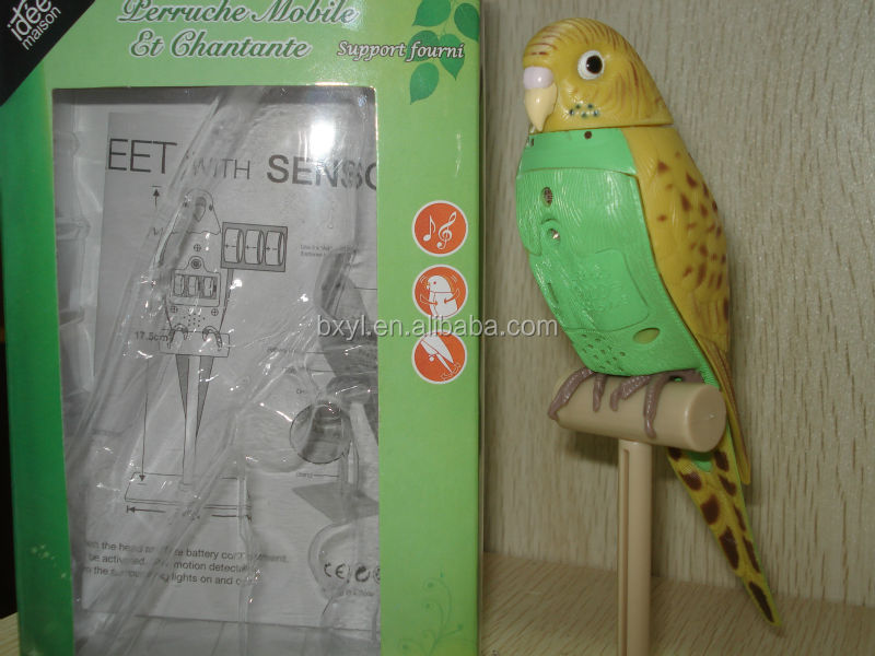 Singing Parrot with Sensor plastic garden birds