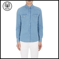 2017 Men Clothing Casual Long Light Blue Denim T-shirt