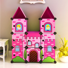 8 cubes diy moveable cartoon baby plastic cabinet wardrobe