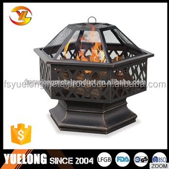 Hex-Shaped outdoor fire bowl Lattice Fire Pit