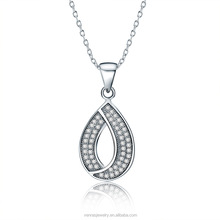 Top Quality Good Price Women's Charm Jewleries Fashion Silver Necklace Nice Crystal Zircon Inlaid Waterdrop Jewelry