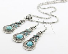 Newest popular Vintage turquoise gourd shaped necklace set 57mm *18 mm