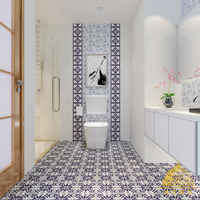 100x100/shiny /European style /handicraft /blue &white /stair & kitchen & bathroom/ porcelain tile