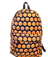 High quality women canvas backpacks smiley emoji face 3D printing cool school bag for teenagers girls shoulder bag mochila