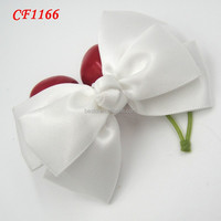 Hair accessory New arrival white fabric satin cute bow tie