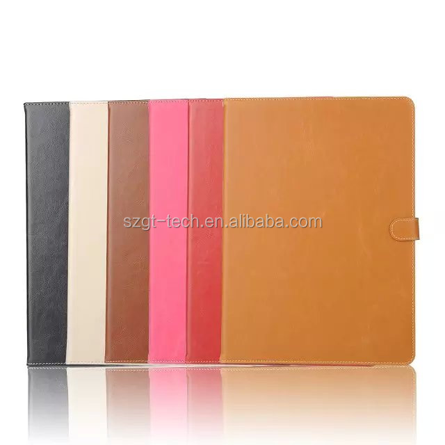 Flip Leather Wallet For iPad Pro, Glossy Crazy Horse PU Leather Case For Apple iPad Pro