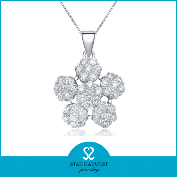 White CZ silver necklace cheap costume jewelry