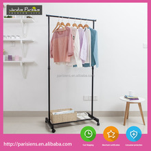 Movable metal iron single pole clothes rack stand, clothes hanging stand