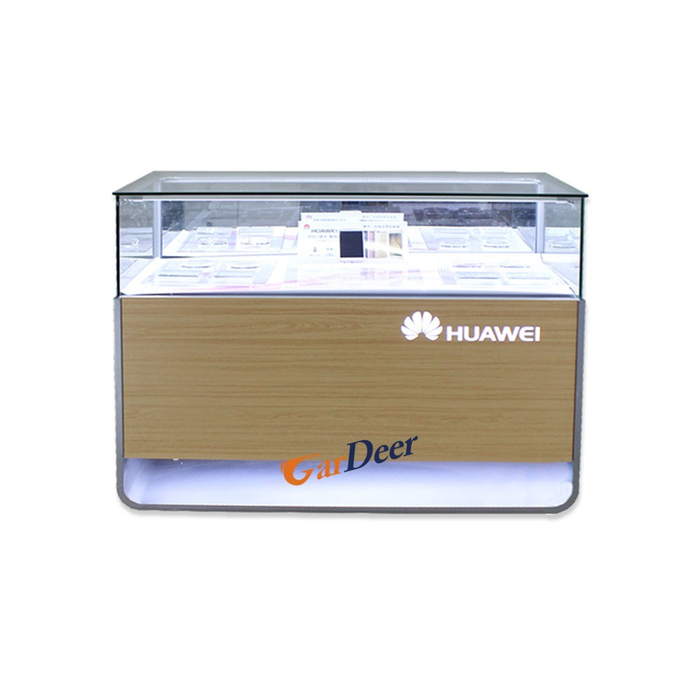 Factory sale mobile phone glass stainless steel display counter for huawei store experience