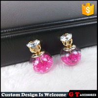 Hot Sale Fashion Transparent Glass Ball Double Sided Earrings For Women Girls