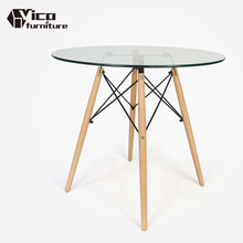 made in china best price new design coffee standing meeting dining room cafe modern round glass table for sale