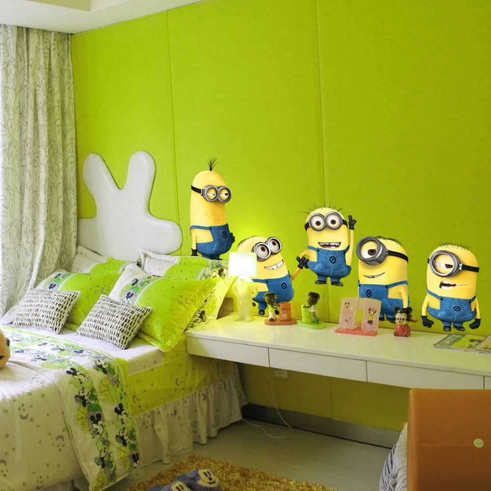 DESPICABLE ME 2 cute cartoon MINIONS wall sticker decoration Removable Vinyl Art decals room kid decor
