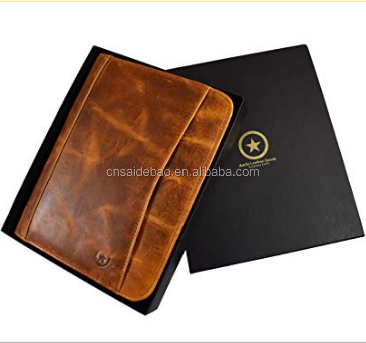 Top Customize Expensive Cow Leather RFID Leather business portfolio With Black Gift Box