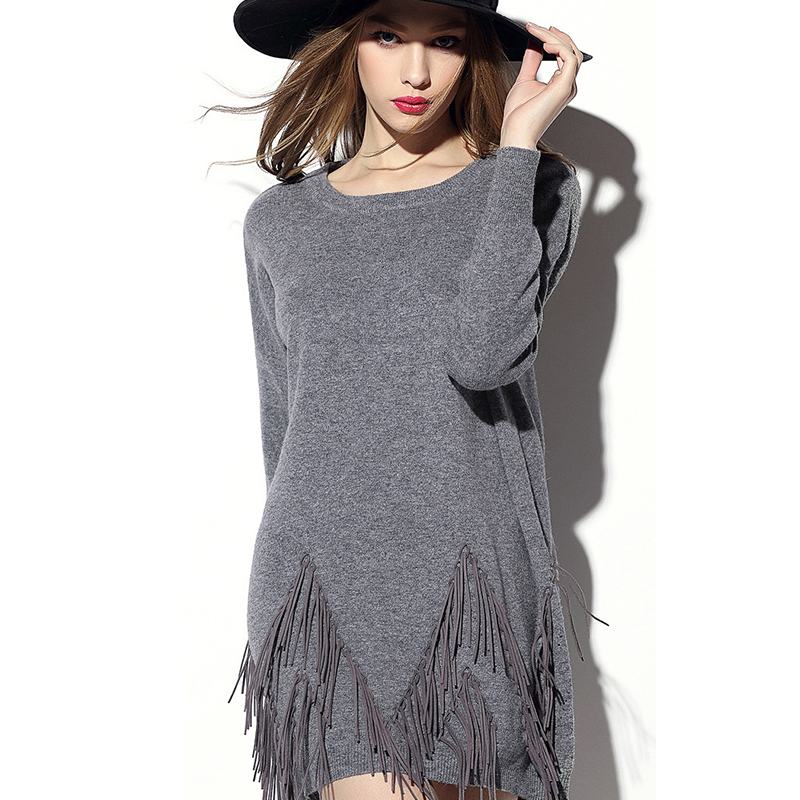 2015 New Autumn Style High Quality European and American Solid Tassel Full Sleeve Plus Size Women Dress- SuperMine A2011