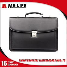 2017 New Products Black Leather PU Men's Briefcase