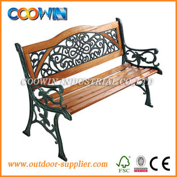 garden metal wood bench with back