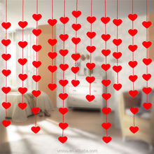 Umiss 3m Paper Red Love Heart Bridal Chamber Wedding,Marriage Backdrops Party Home Decoration Banner