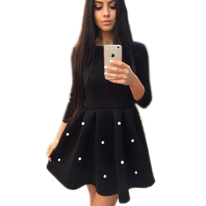 Buy Autumn Winter Women Dress Pearl Cute Girls Ball Gown Princess