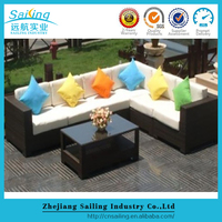 Simple deisgn vintage europe style poly rattan outdoor used sofa