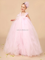 Tea-Length Pink Ribbon Wrap Elastic Waist Ivory And Light Pink Flower Girl Tutu Dress pink marie party girl frock