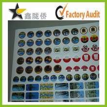 2015 custom self adhesive clear labels anti radiation sticker