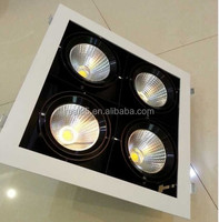 Quad grille LED downlight, COB LED,2 heads, 30W x 2, rectangular, gimble,5000K/4000K/3000K,4200 lumen, 36/60 deg, factory