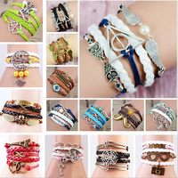 China Wholesale Fashion Mens Leather Bracelet , High Quality Women Bracelet Leather For Mother's Day