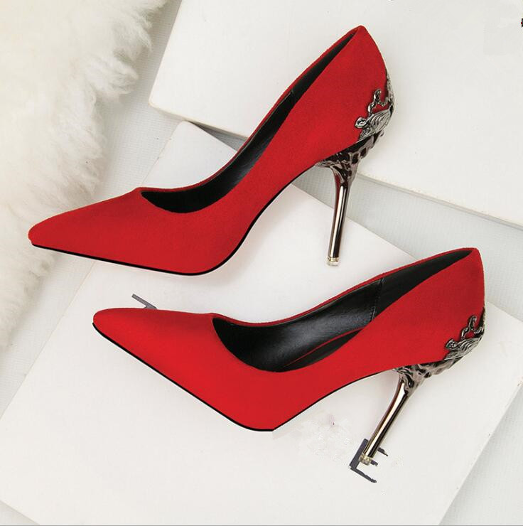 cy10141a 2017 women wedding party shoes female pumps sexy red color pointed toe high heels casual lady evening dress shoes