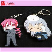 Promotion gifts custom rubber keyring 3d cute cartoon pvc keychain maker
