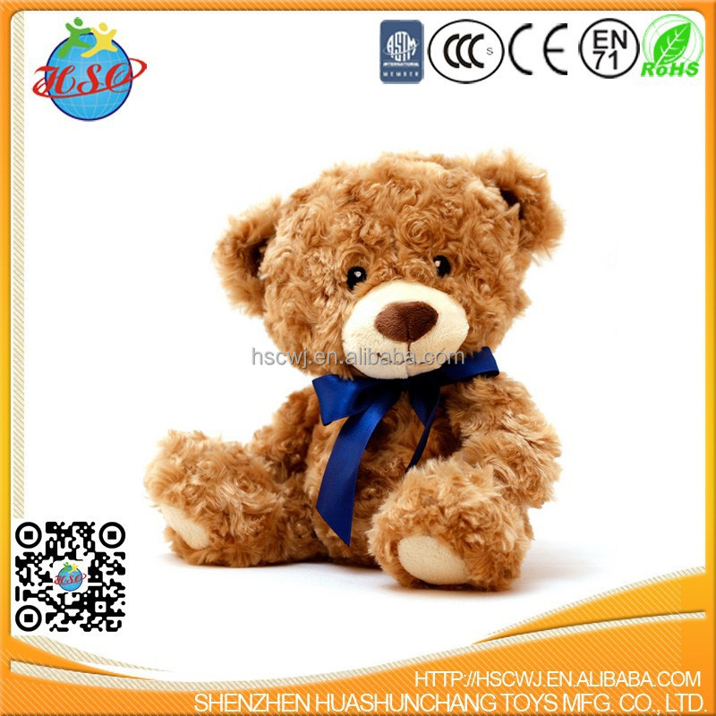 Jumbo Furry Cuddly PV Fleece Brown Animated Christmas Teddy Bear with Blue Scarf Animal Toy