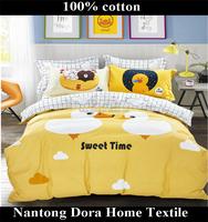 yellow duck children's bed linen 100% cotton pretty bear printed for kids set