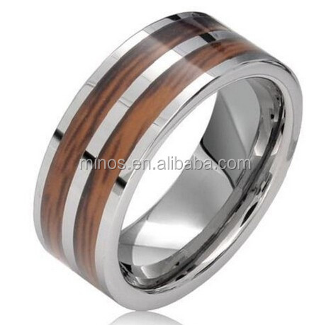 8mm Wooden Inlay Polish Unisex Tungsten Carbide Wedding Band Engagement Ring
