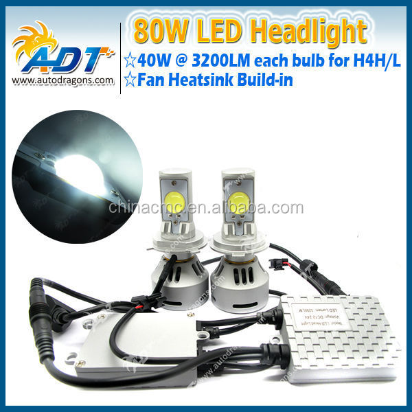 Newest product 80w USA CR car h4 led headlight bulbs, h4 H13 9004 9007 led head lamp, led headlight for h4 auto parts