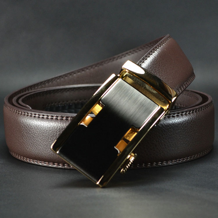 ab003 Adjustable Leather Men Gold Automatic Buckle Belt
