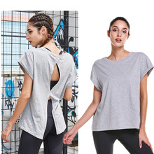 Workout Loose <strong>Sports</strong> Sexy Backless Yoga Tops Cotton T Shirt Women Plain Gym Shirts