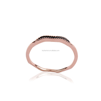 2016 tiny AAA zircon chic cz micro paved 18k rose gold delicate copper curved enamel ring