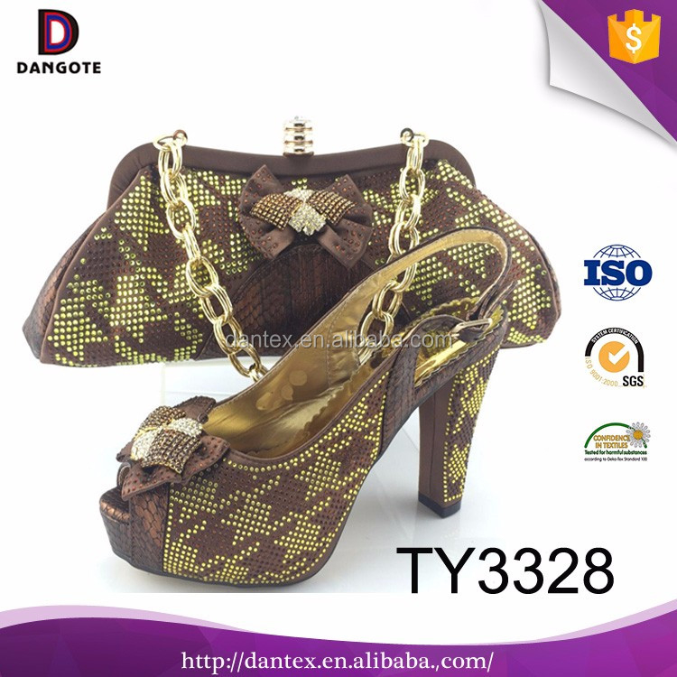 New arrival shoes and matching clutch bag italian shoes and bag set for wedding TY3328 in brown