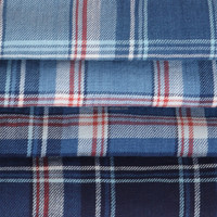 Textile Fabric,Cotton Checked Blue And White Twill Fabric