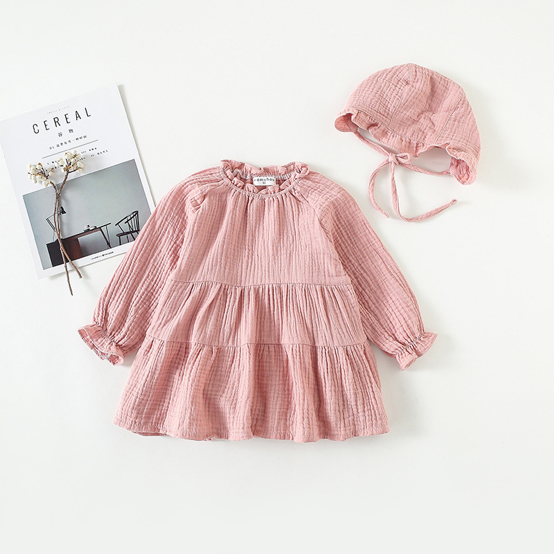 Conicenini Beautiful Linen and Cotton Baby Clothes Gril Long Sleeve Dress With  Linen and Cotton Hat